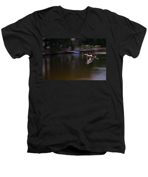 Great Blue Heron In Flight Men's V-Neck T-Shirt