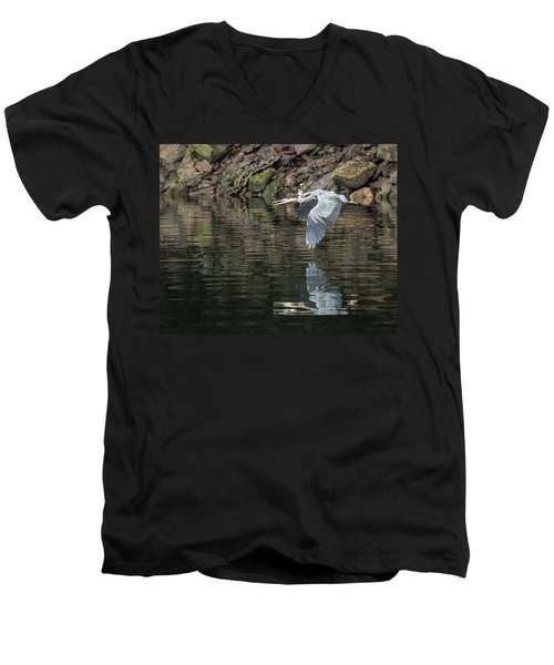 Great Blue Heron Reflections Men's V-Neck T-Shirt