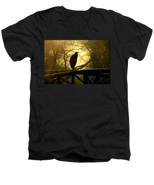 Great Blue Heron Silhouette Men's V-Neck T-Shirt by Brian Chase