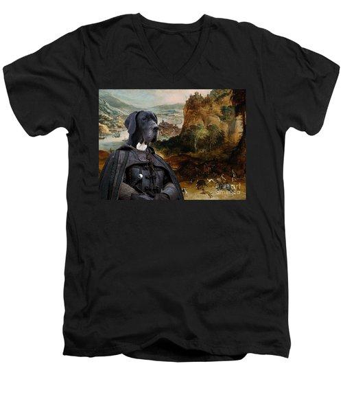 Great Dane Art - The Boar Hunt Men's V-Neck T-Shirt