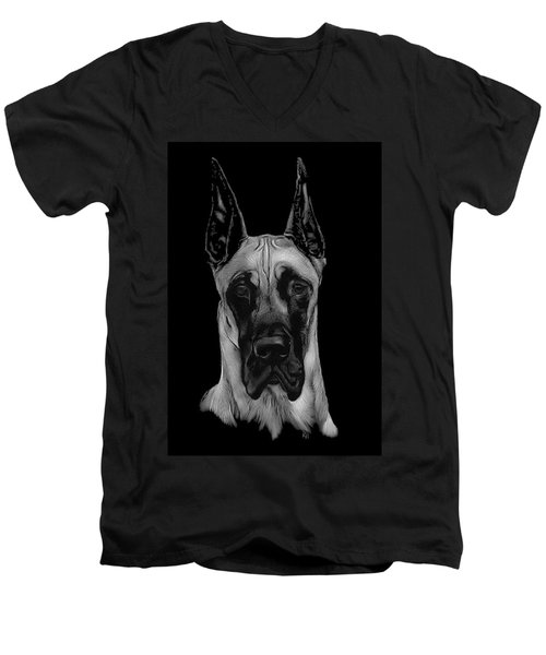 Men's V-Neck T-Shirt featuring the drawing Great Dane by Rachel Hames