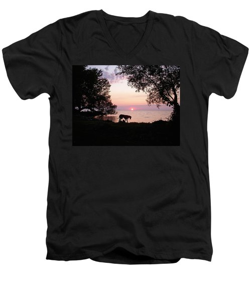 Men's V-Neck T-Shirt featuring the photograph Great Dane Sunset by Aimee L Maher Photography and Art Visit ALMGallerydotcom