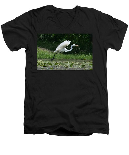 Great Egret Elegance   Men's V-Neck T-Shirt