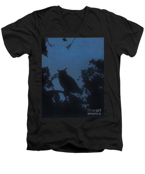 Men's V-Neck T-Shirt featuring the drawing Owl At Night by D Hackett