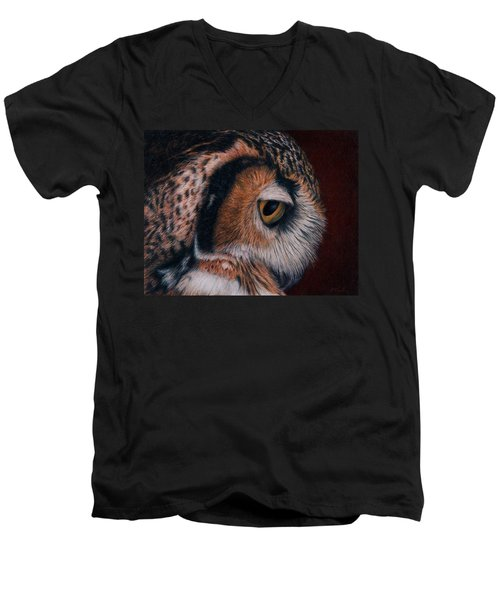 Men's V-Neck T-Shirt featuring the painting Great Horned Owl Portrait by Pat Erickson