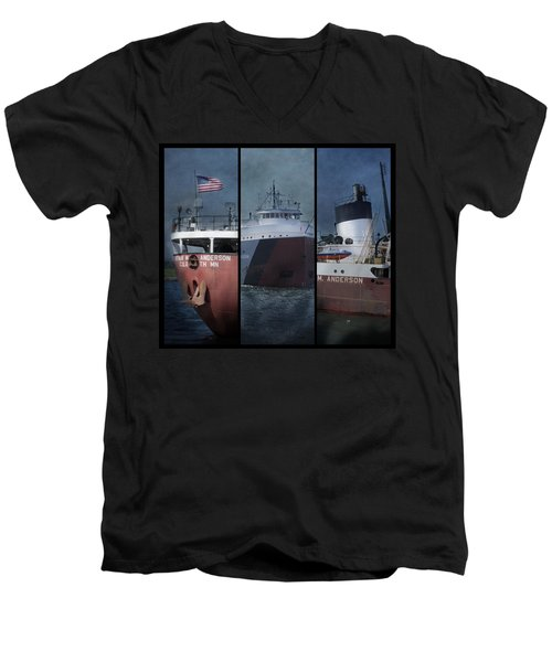 Great Lakes Freighter Triptych Arthur M Anderson Men's V-Neck T-Shirt