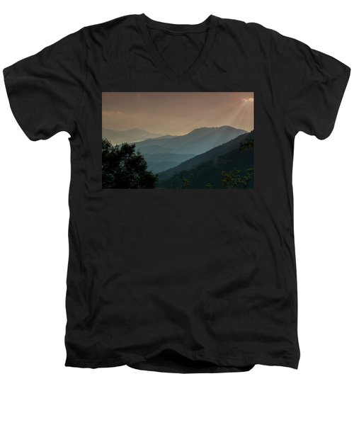 Men's V-Neck T-Shirt featuring the photograph Great Smoky Mountains Blue Ridge Parkway by Patti Deters