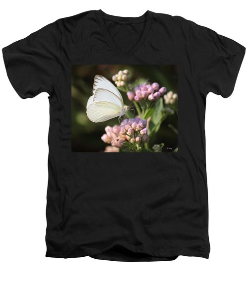 Great Southern White Butterfly On Pink Flowers Men's V-Neck T-Shirt