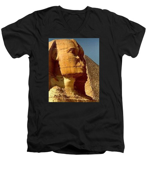 Men's V-Neck T-Shirt featuring the photograph Great Sphinx Of Giza by Travel Pics