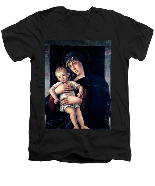 Men's V-Neck T-Shirt featuring the painting Greek Madonna With Child 1464 Giovanni Bellini by Karon Melillo DeVega