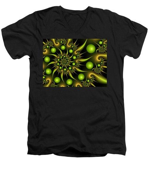 Men's V-Neck T-Shirt featuring the digital art Green And Gold by Gabiw Art