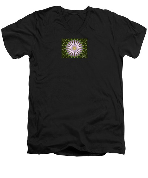Green And Purple Starburst Men's V-Neck T-Shirt