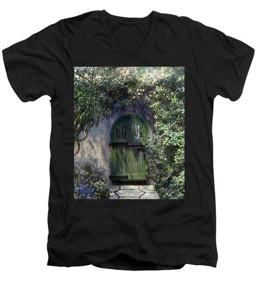 Green Door Men's V-Neck T-Shirt by Terry Reynoldson