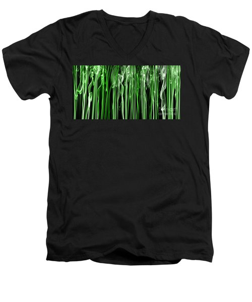 Green Grass Smoke Photography Men's V-Neck T-Shirt by Sabine Jacobs