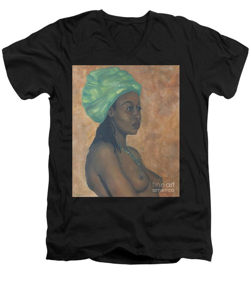 Green Headwrap Men's V-Neck T-Shirt