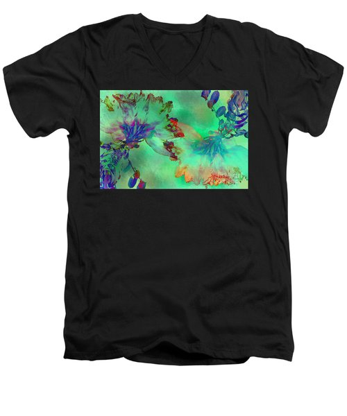 Green Hibiscus Mural Wall Men's V-Neck T-Shirt by Claudia Ellis