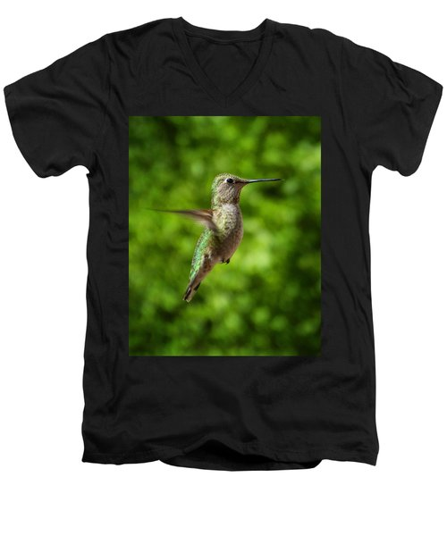 Green Hummingbird Men's V-Neck T-Shirt