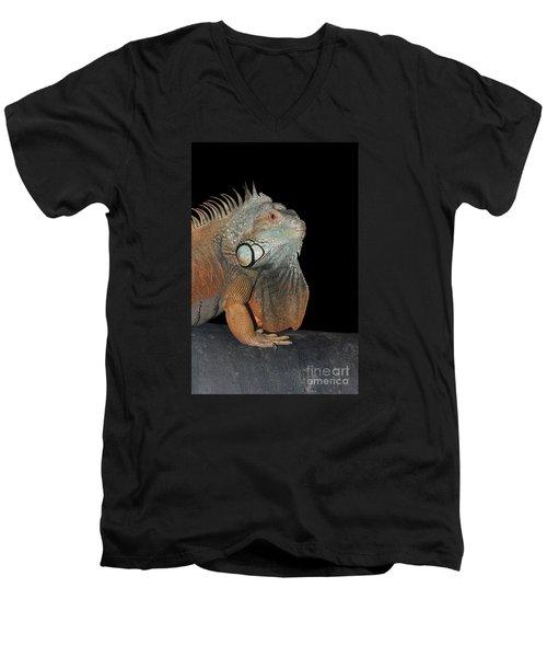 Green Iguana  Men's V-Neck T-Shirt by Judy Whitton