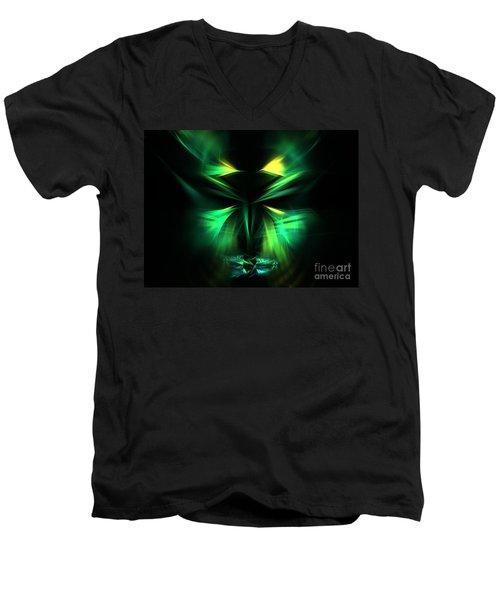 Green Man Men's V-Neck T-Shirt by Kim Sy Ok