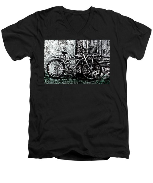 Men's V-Neck T-Shirt featuring the painting Green Park Way by Ecinja Art Works