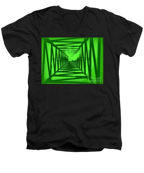 Green Perspective Men's V-Neck T-Shirt by Clare Bevan