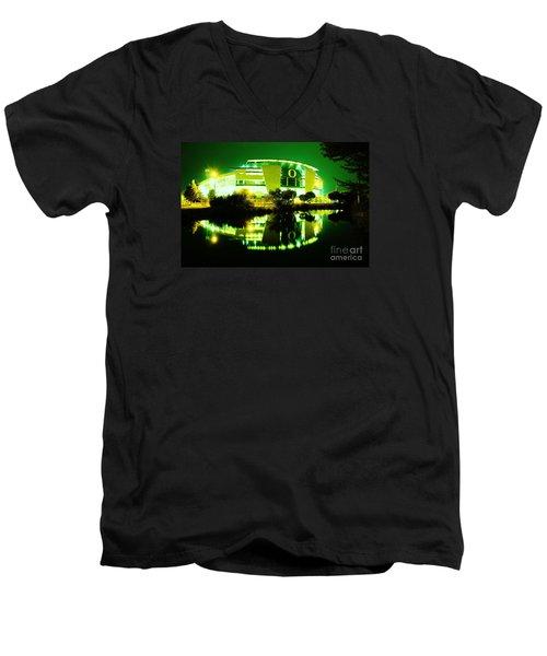 Green Power- Autzen At Night Men's V-Neck T-Shirt by Michael Cross