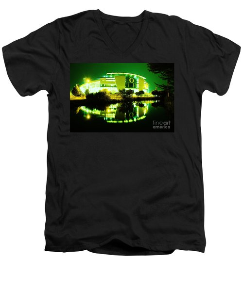 Green Power- Autzen At Night Men's V-Neck T-Shirt
