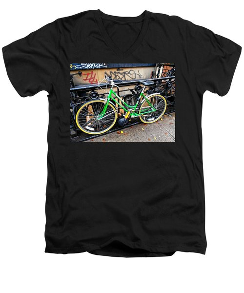 Green Schwinn Bike  Nyc Men's V-Neck T-Shirt