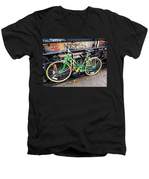 Green Schwinn Bike  Nyc Men's V-Neck T-Shirt