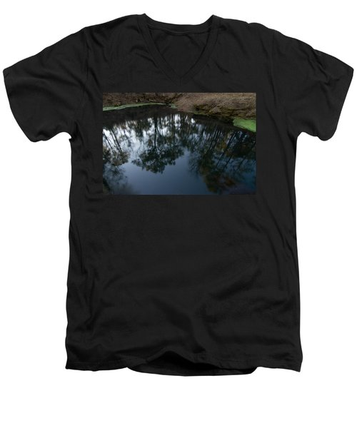 Men's V-Neck T-Shirt featuring the photograph Green Sink Reflection by Paul Rebmann