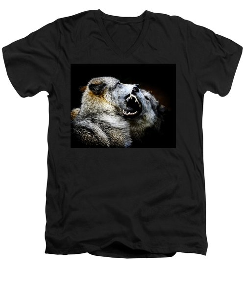 Grey Wolf Fight Men's V-Neck T-Shirt by Steve McKinzie