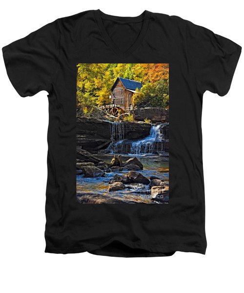 Grist Mill In Babcock State Park West Virginia Men's V-Neck T-Shirt by Kathleen K Parker