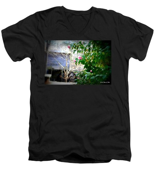Men's V-Neck T-Shirt featuring the photograph Grist Mill Roses by Tara Potts