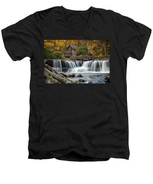 Grist Mill With Vibrant Fall Colors Men's V-Neck T-Shirt