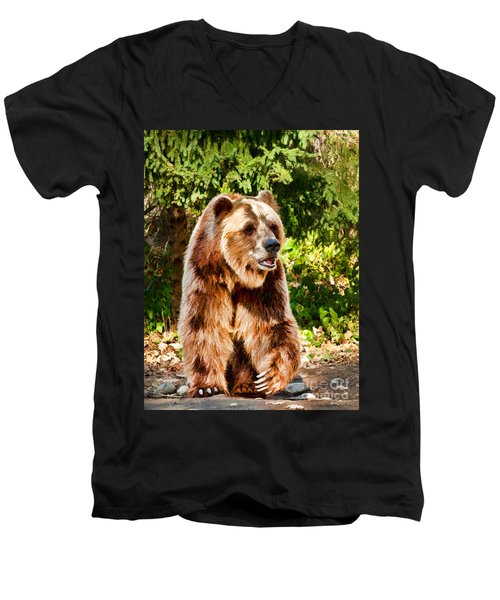 Grizzly Bear - Painterly Men's V-Neck T-Shirt by Les Palenik