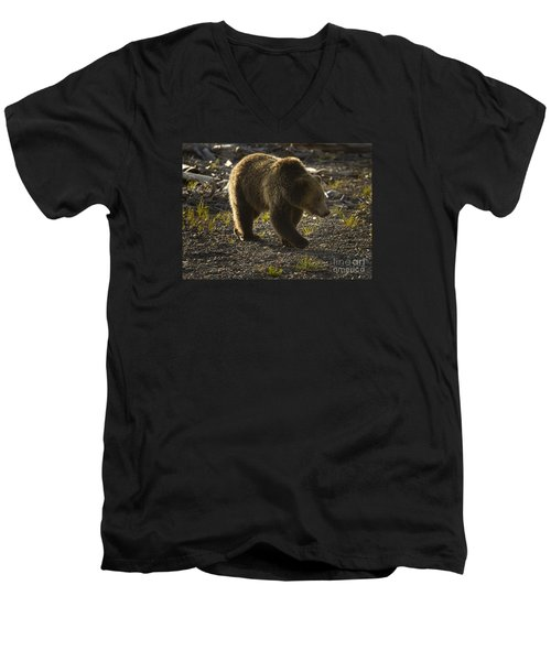 Men's V-Neck T-Shirt featuring the photograph Grizzly Bear-signed-#4429 by J L Woody Wooden