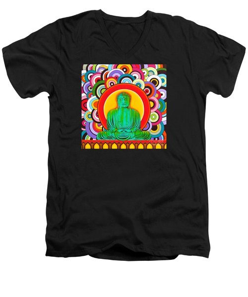 Men's V-Neck T-Shirt featuring the painting Groovy Buddha by Joseph Sonday
