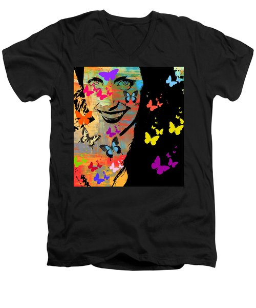 Groovy Butterfly Gal Men's V-Neck T-Shirt