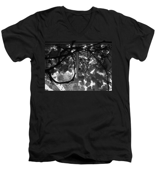 Men's V-Neck T-Shirt featuring the photograph Gropius Vine - Black And White by Joseph Skompski