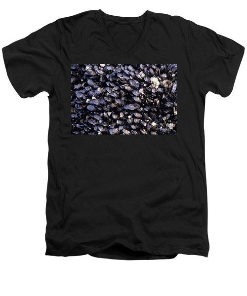 Group Of Mussels Close Up Men's V-Neck T-Shirt