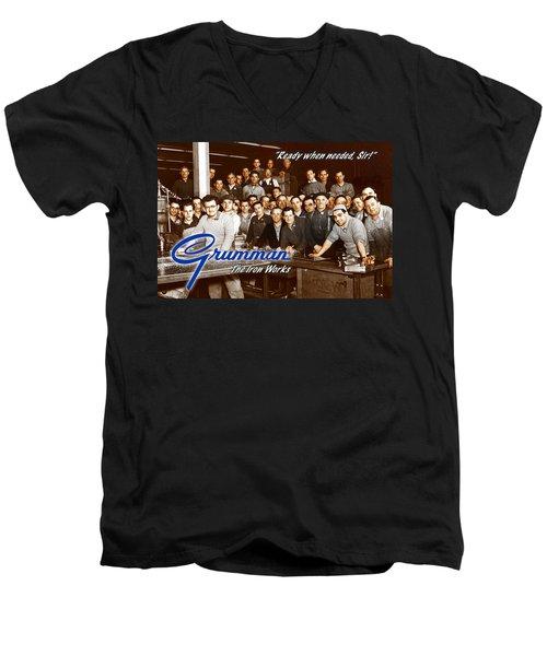 Grumman Iron Works Shop Workers Men's V-Neck T-Shirt