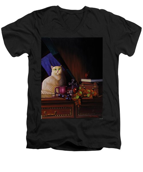 Grumpy Cat Men's V-Neck T-Shirt by Gene Gregory
