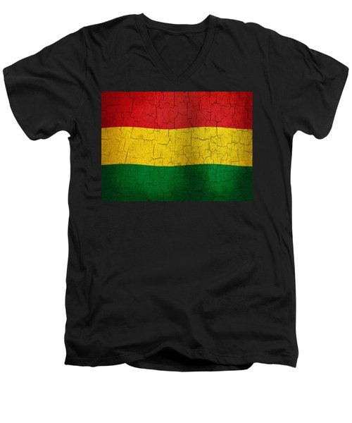 Grunge Bolivia Flag Men's V-Neck T-Shirt