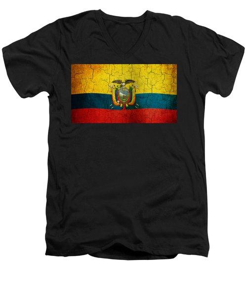 Grunge Ecuador Flag Men's V-Neck T-Shirt