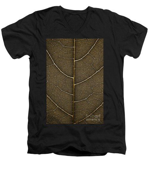 Grunge Leaf Detail Men's V-Neck T-Shirt by Carsten Reisinger
