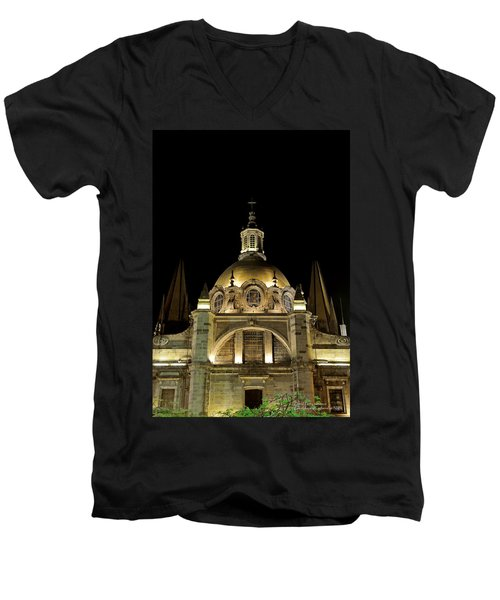 Men's V-Neck T-Shirt featuring the photograph Guadalajara Cathedral At Night by David Perry Lawrence