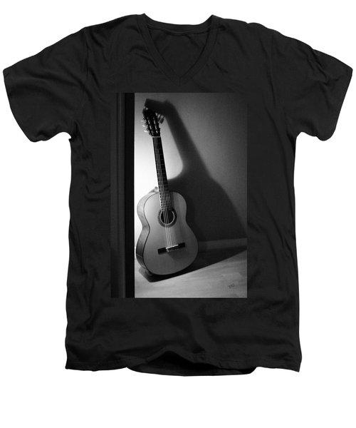 Guitar Still Life In Black And White Men's V-Neck T-Shirt