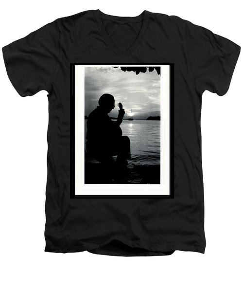 Men's V-Neck T-Shirt featuring the photograph Guitarist By The Sea by The Art of Alice Terrill