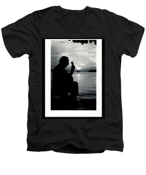 Guitarist By The Sea Men's V-Neck T-Shirt