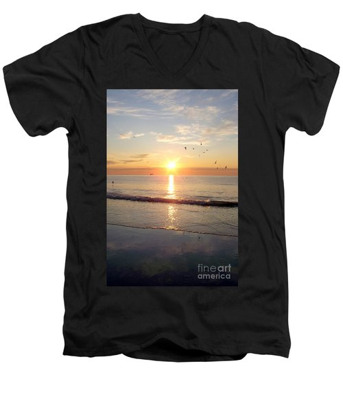 Men's V-Neck T-Shirt featuring the photograph Gulls Dance In The Warmth Of The New Day by Eunice Miller